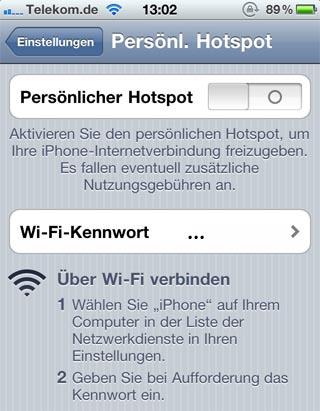Über den persönlichen Hotspot mit dem iPad über das iPhone ins Internet