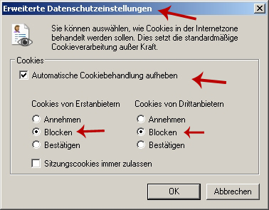 TIPPS Cookies blocken im Internet Explorer 7